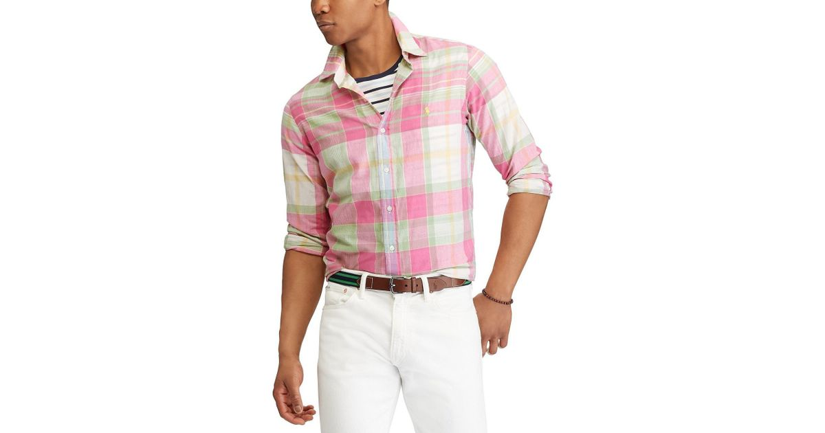 b532ae98 Lyst - Polo Ralph Lauren Madras Plaid Long-sleeve Woven Shirt in Pink for  Men