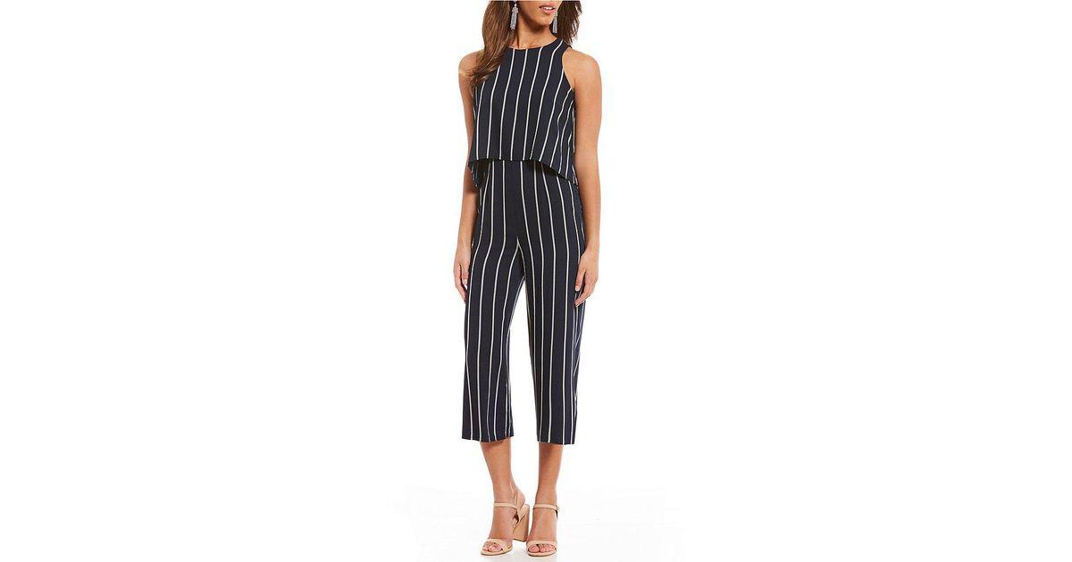 248313ed937 Lyst - Gianni Bini Sandra Striped Popover Culotte Jumpsuit in Blue
