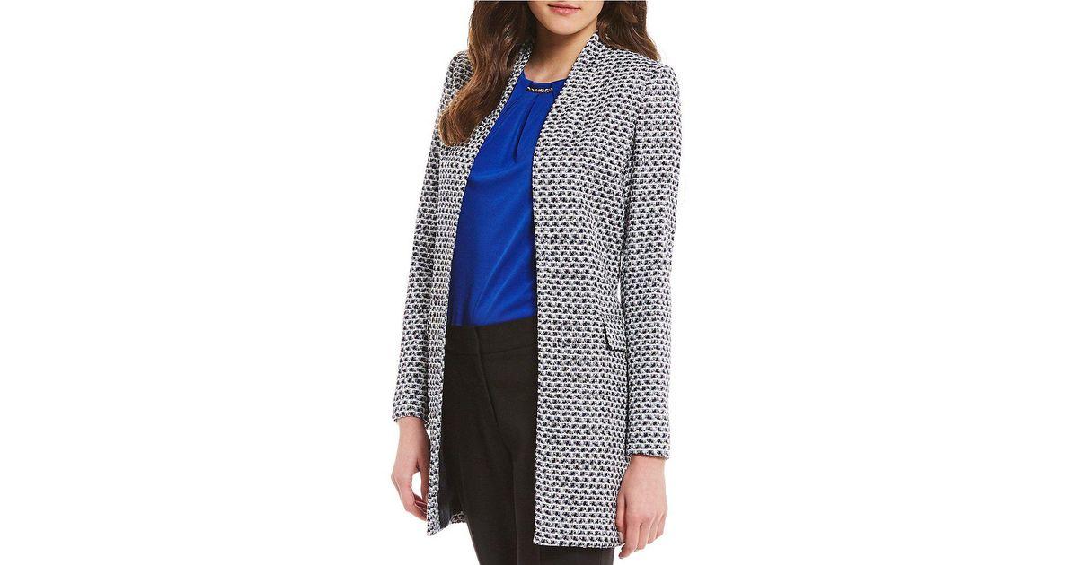 8f5a7fabd43f6 Lyst - Calvin Klein Petites Metallic Boucle Tweed Topper Jacket in Black