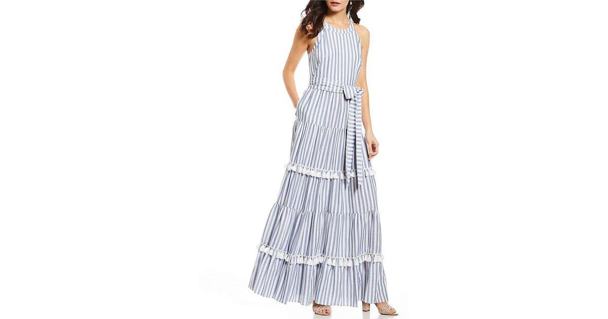 a841c416fee Eliza J Stripe Halter Tiered Tassel Maxi Dress - Lyst