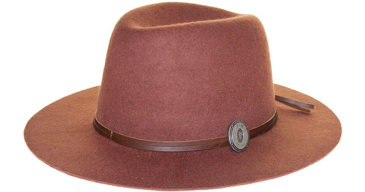 310126fbe0cd Frye Dented Crown Felt Hat in Brown - Lyst