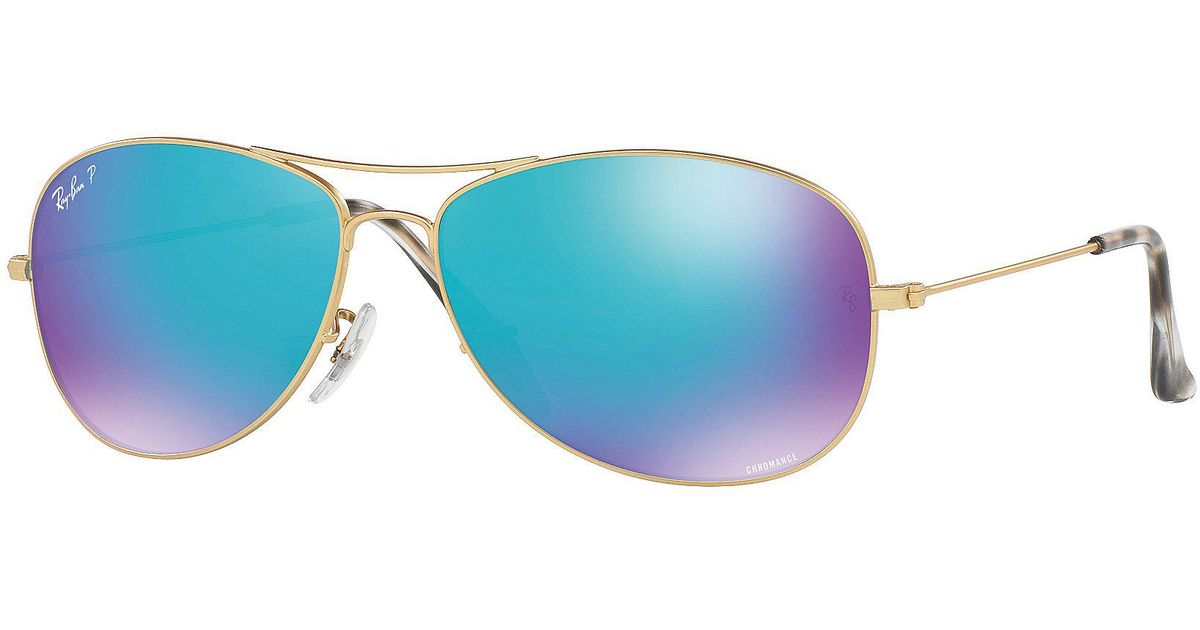 9364f58cb9 Lyst - Ray-Ban Chromance Polarized Mirrored Aviator Sunglasses in Blue for  Men