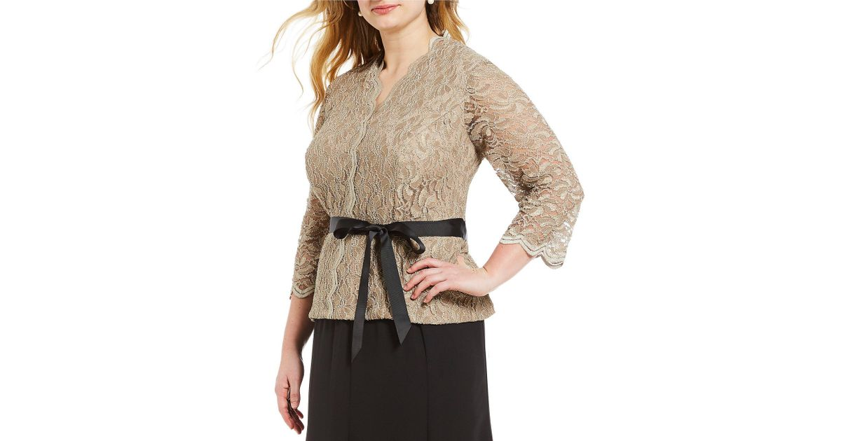 Lyst - Alex Evenings Plus Size V-neck Sequin Lace Blouse 6d844a0d7