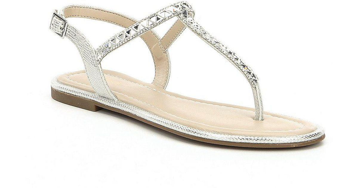 be7fa6d2c316 Lyst - ALDO Sheeny Embellished Thong Sandals in Metallic