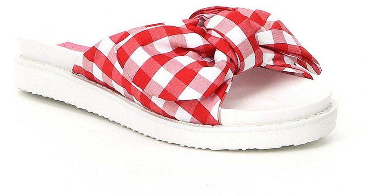 Betsey Johnson June Gingham Bow Slide Sandals Pbv17