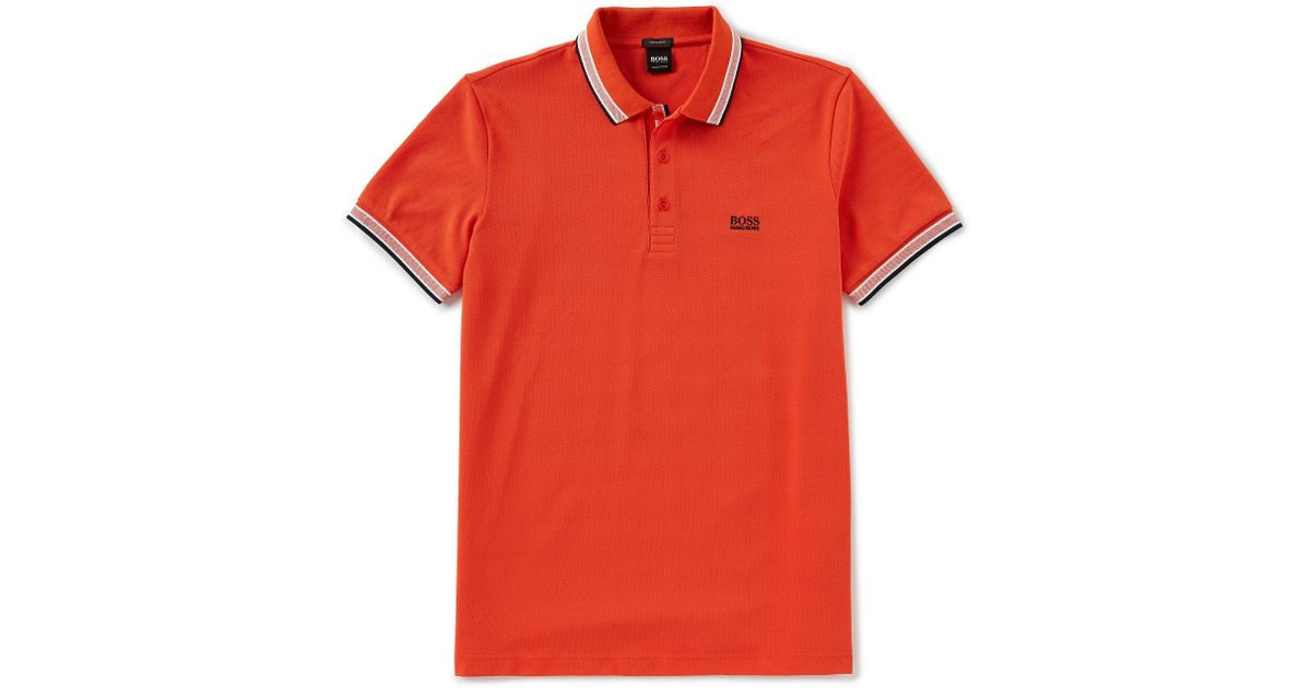 92fb5a56 Lyst - Boss Paddy Pique Heather Short-sleeve Polo Shirt in Red for Men