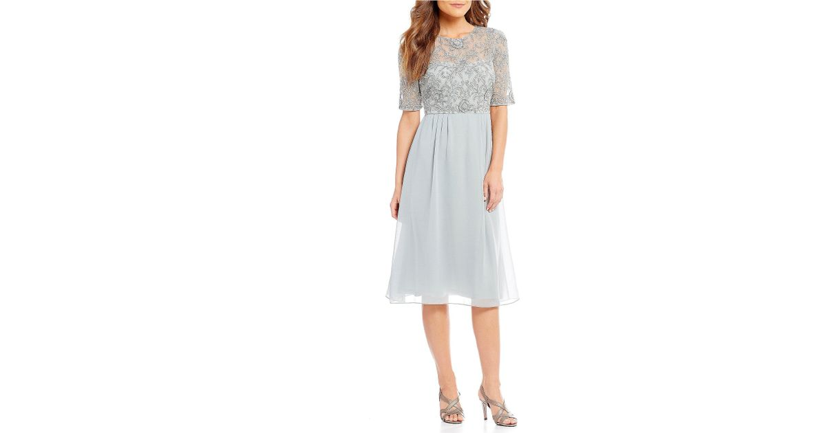 778e08f76ac Lyst - Adrianna Papell Short Sleeve Beaded Bodice Chiffon Dress in Blue