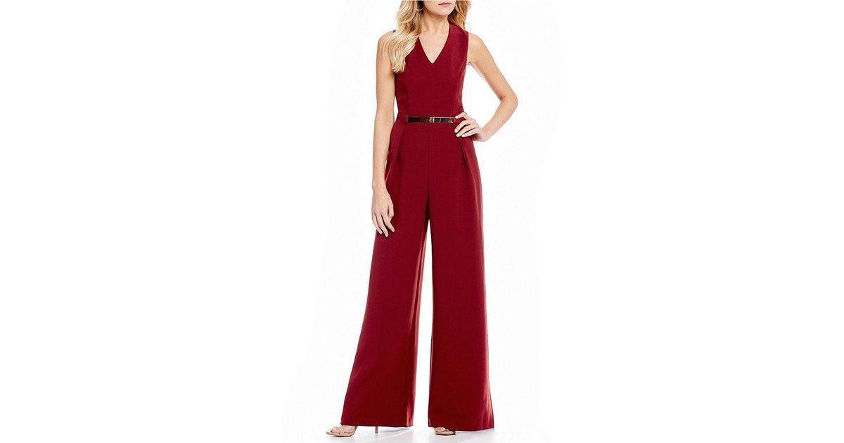 1bee3b66081b Sugarlips V-neck Wide Leg Jumpsuit in Red - Lyst