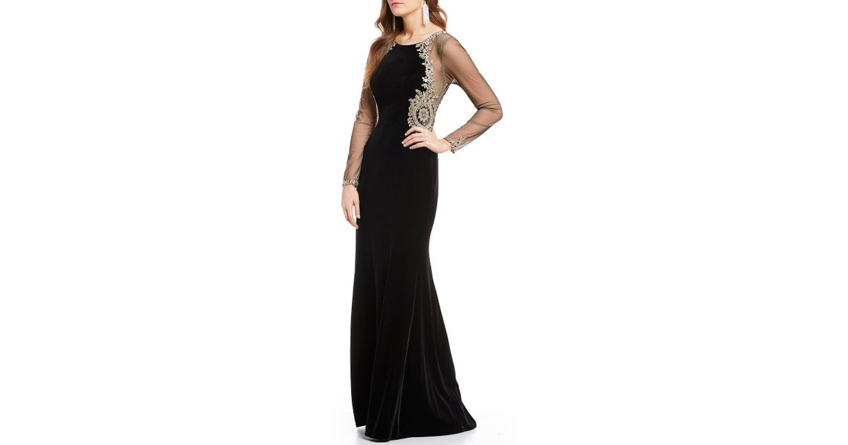 31eb1aa3 Xscape Embroidered Sheer Sleeve Velvet Gown in Black - Lyst