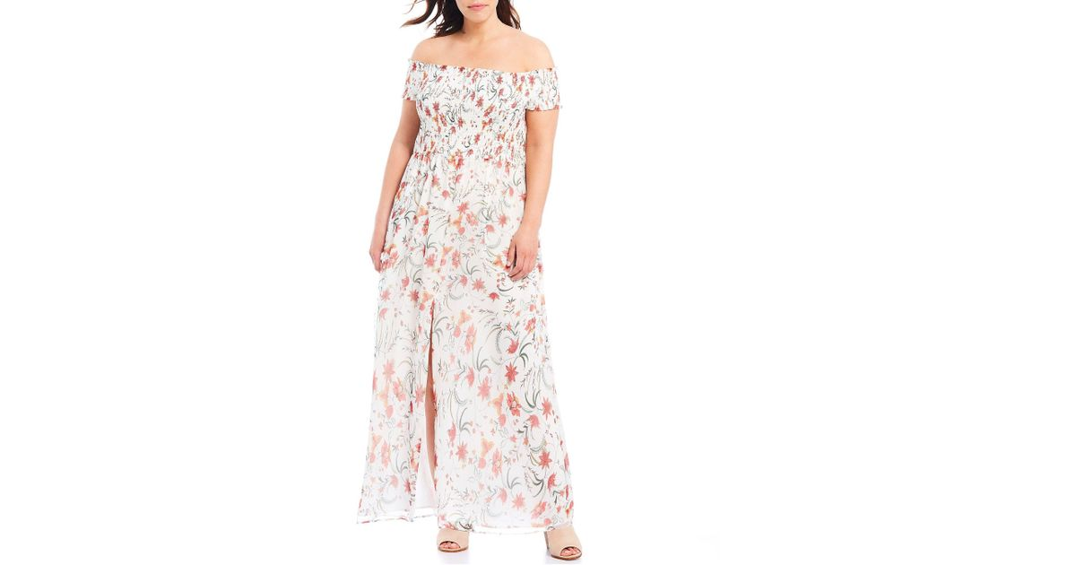 edd1a66c7fa Lyst - Cece Plus Size Smocked Off-the-shoulder Floral Maxi Dress in Pink