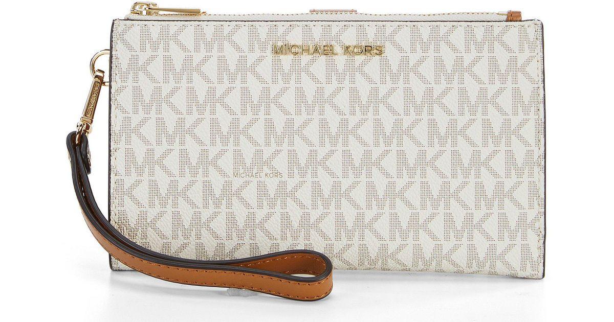 fb924b49097d9 Lyst - MICHAEL Michael Kors Signature Adele Double-zip Wristlet in Gray