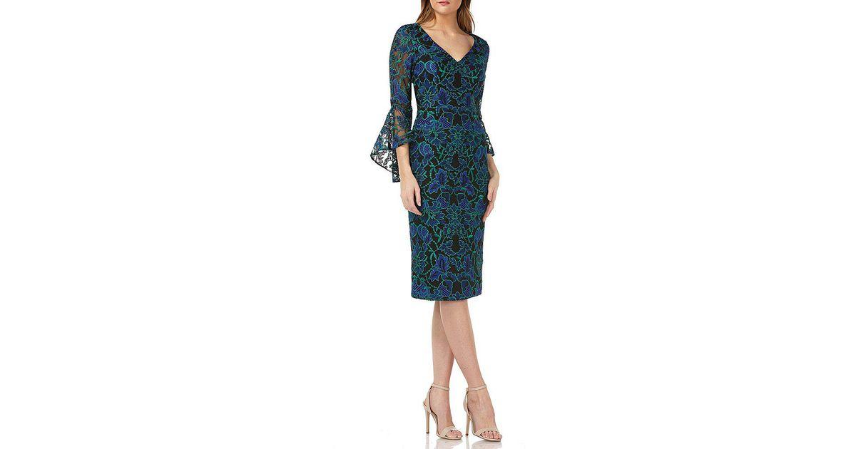 31ca00393f72 Lyst - Carmen Marc Valvo Infusion Bell Sleeve Lace Sheath Dress in Blue