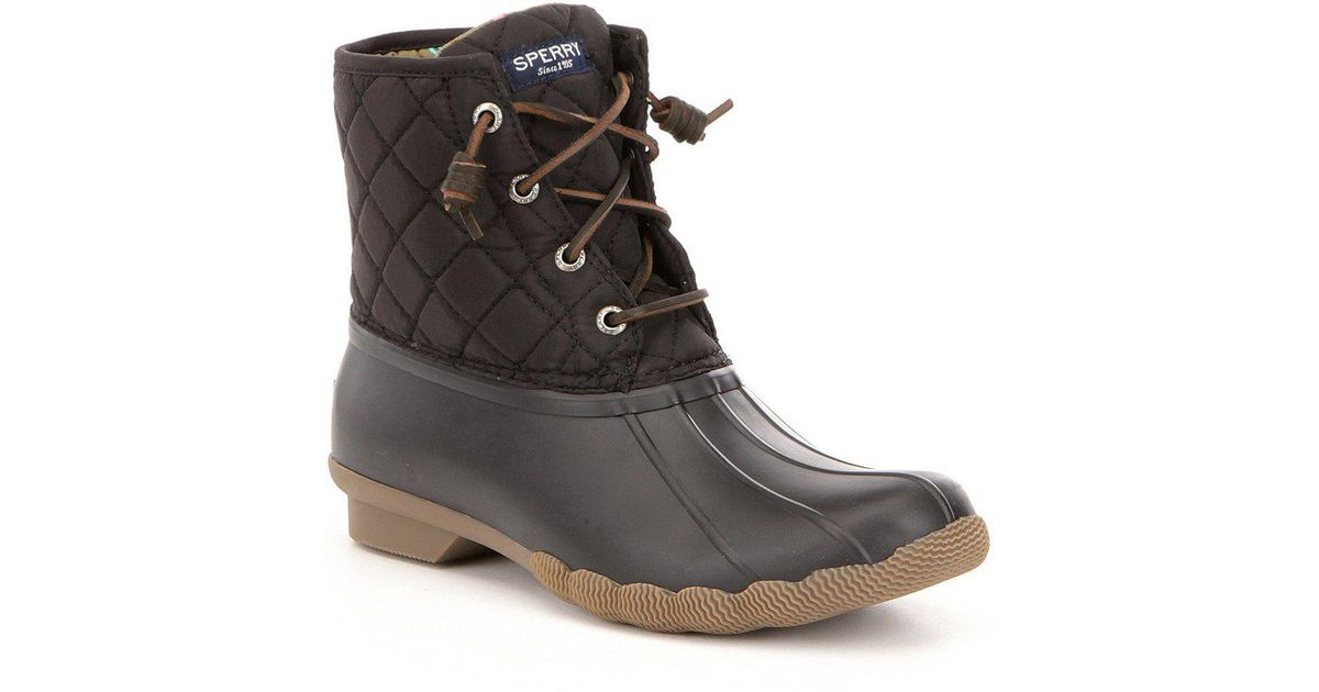 Lyst - Sperry Top-Sider Saltwater Quilted Waterproof Matte Lace Up  Cold-weather Duck Boots in Black