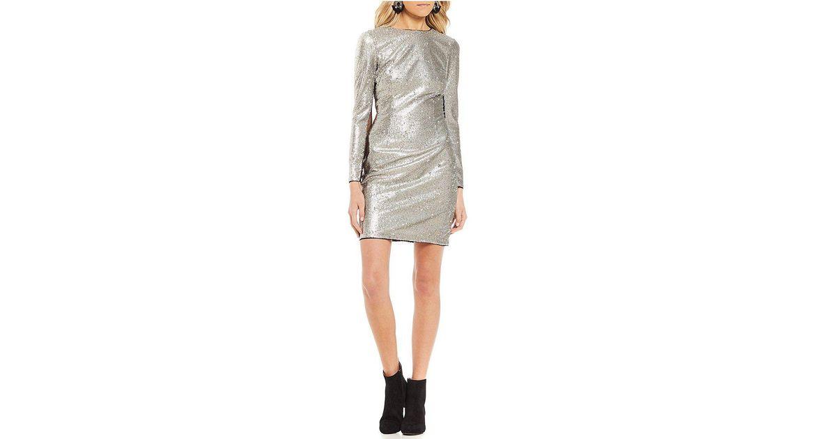8d643c32f9b Lyst - Gianni Bini Gia Long Sleeve Sequin Dress in Metallic