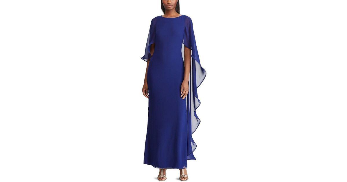 d9b896210e9 Lauren by Ralph Lauren Cape Overlay Georgette Gown in Blue - Lyst