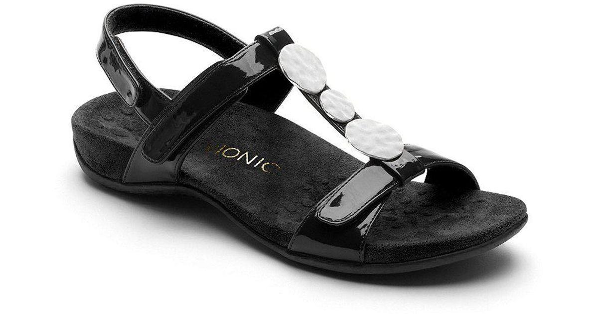 Vionic Farra Patent Metallic Ornament T-Strap Sandals Fz47dW9