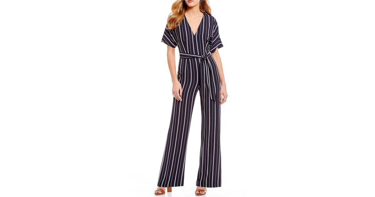 4cd06f59502 Lyst - Gianni Bini Nicole Stripe Tie Waist Jumpsuit in Blue