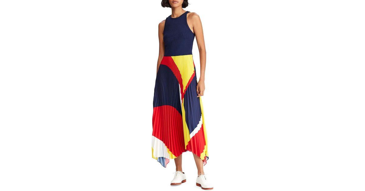 7e591f41d89a Polo Ralph Lauren Pleated Georgette Dress in Blue - Lyst