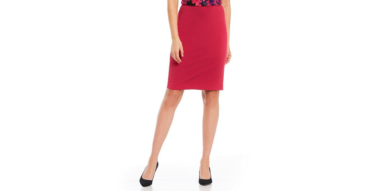 d377f3d327 Calvin Klein Petites Scuba Crepe Pencil Skirt in Red - Lyst
