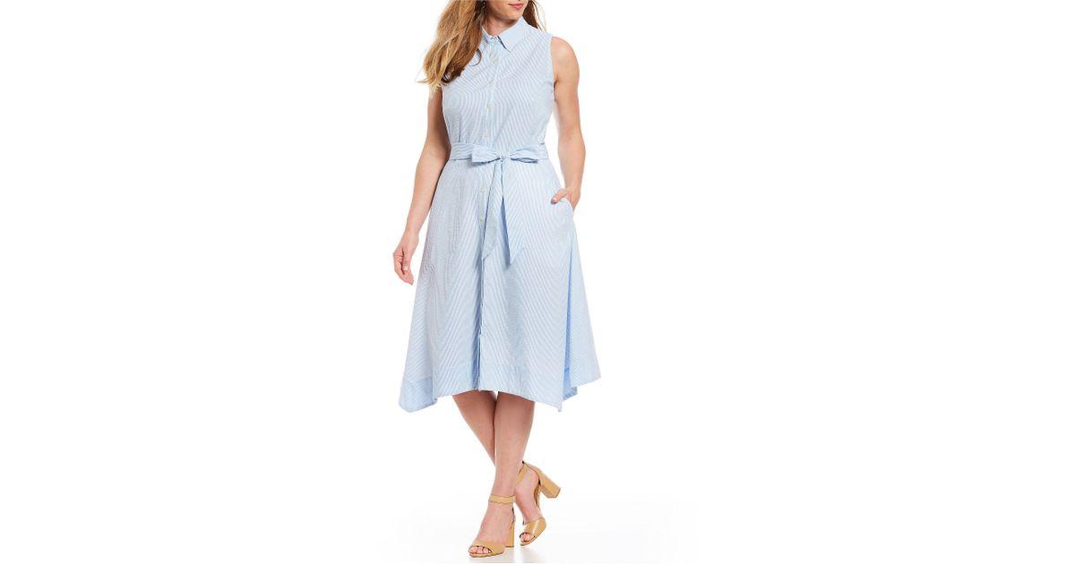 Lyst Tahari Plus Size Sleeveless Seersucker Stripe Midi Shirt