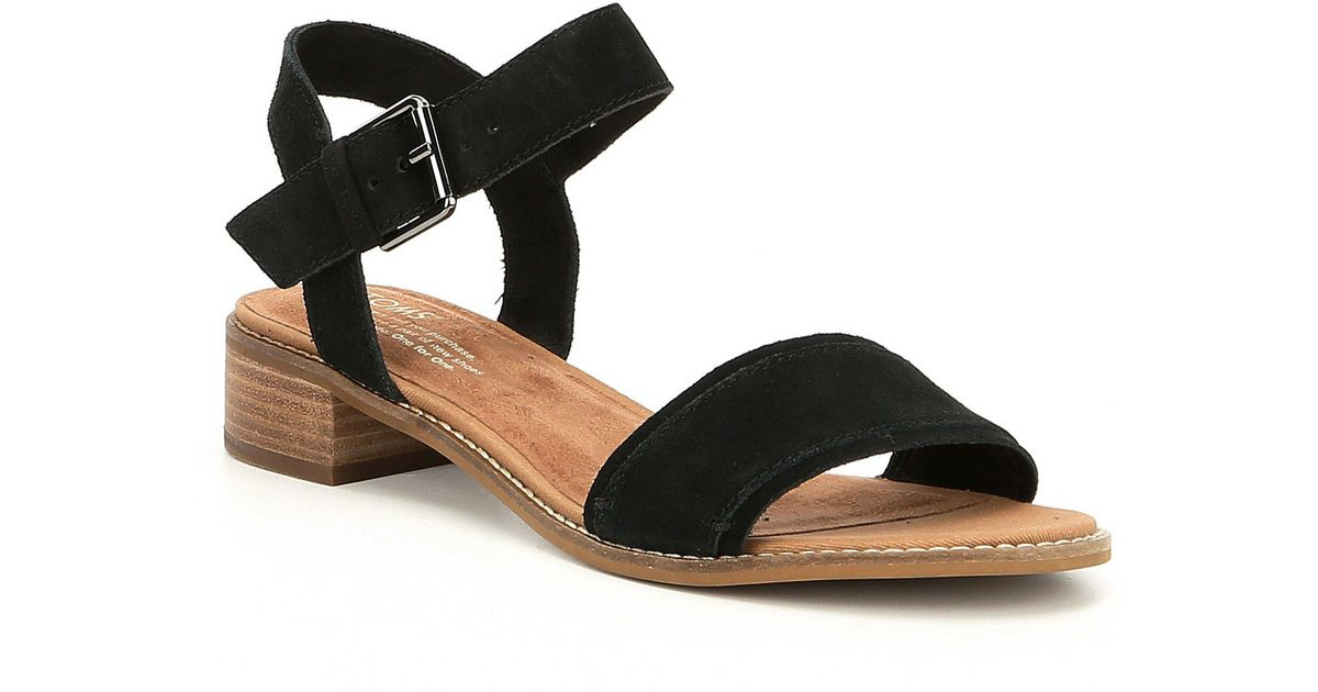 5b4ece426b2 Lyst - TOMS Camilia Suede Block Heel Sandals in Black