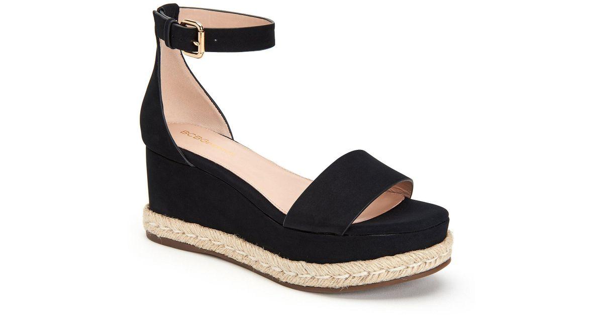 36aedd24188 Lyst - BCBGeneration Addie Microsuede Ankle Strap Wedge Espadrille Sandals  in Black