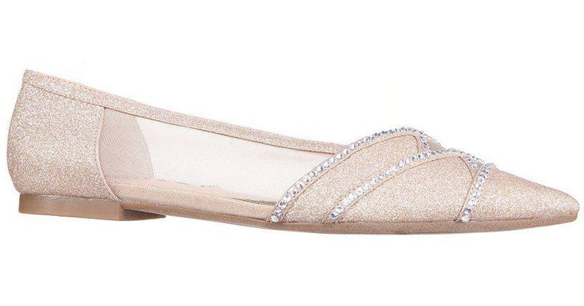 Kiyrah Glitter and Rhinestone Detail Block Heel Dress Flats p8GgQOH3w