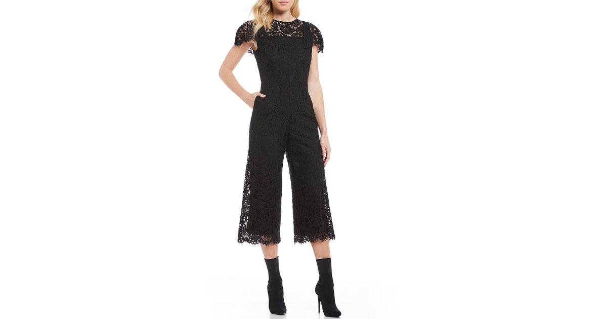 106803f4 Chelsea & Violet Lace Culotte Jumpsuit in Black - Lyst