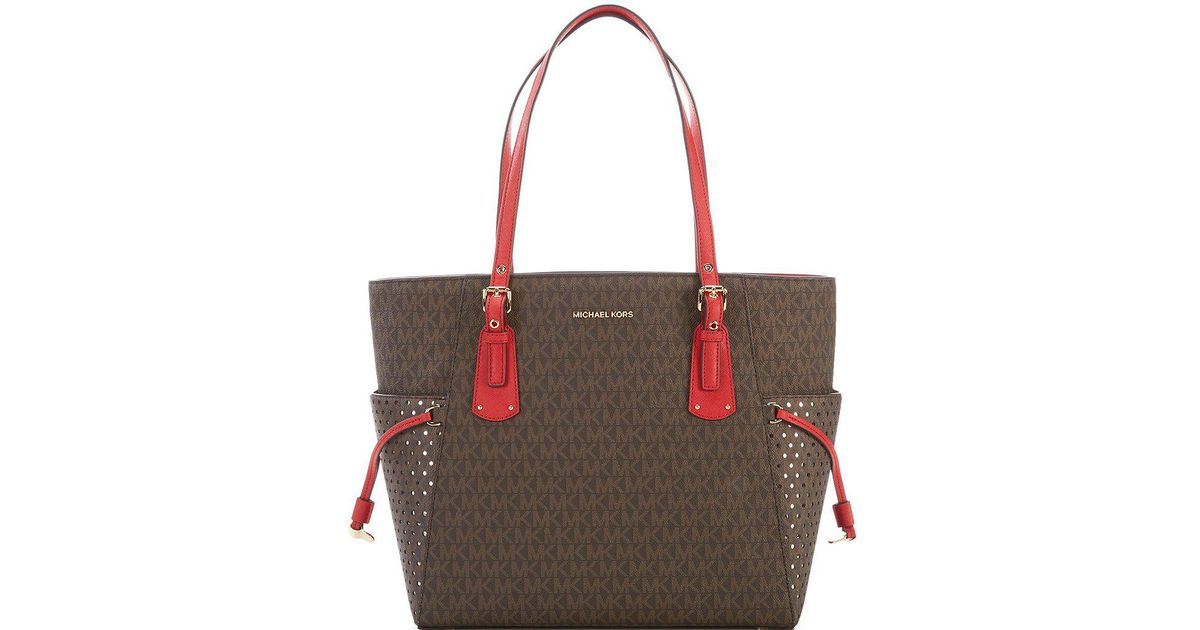 9ce1ebc29a22 MICHAEL Michael Kors Signature Voyager East/west Tote in Brown - Lyst