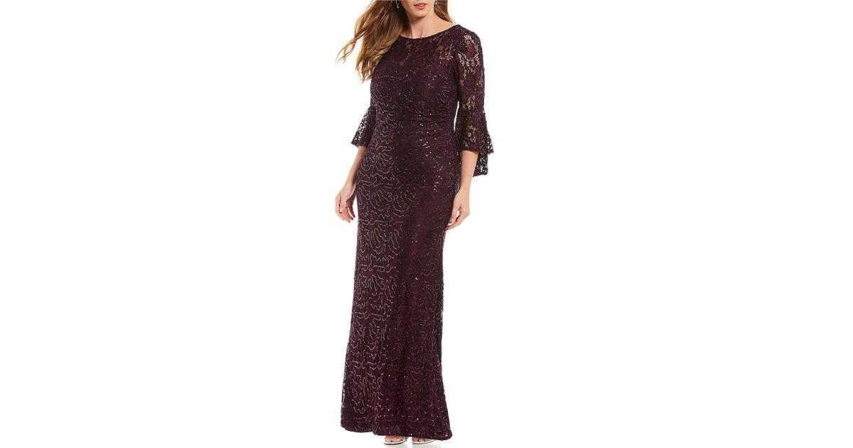 5635a219023 Lyst - R   M Richards Plus Size Long Sequin Lace Bell Sleeve Gown in Purple