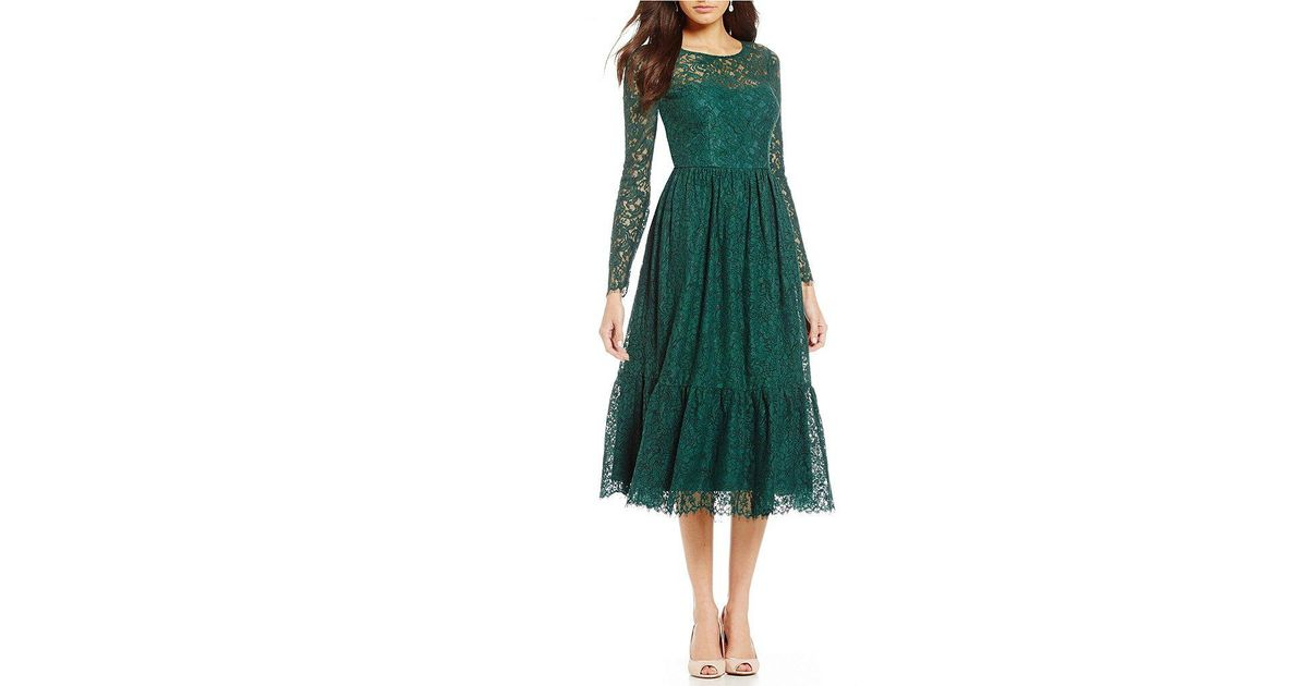 Lyst - Adrianna Papell Long Sleeve Lace Midi Dress in Green