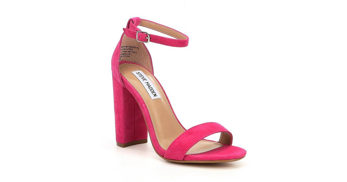 4c4cf82e264 Steve Madden Carrson Patent Banded Ankle Strap Block Heel Sandals in Pink -  Lyst