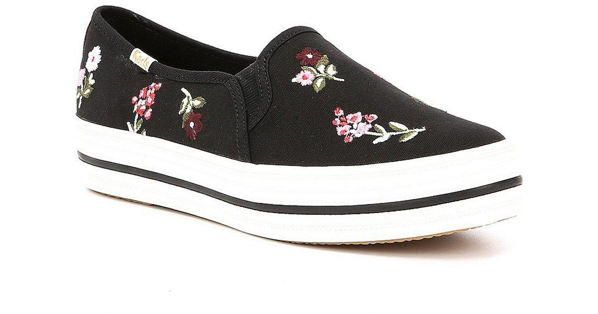 e46fc11a3345 Lyst - Kate Spade Keds For Triple Decker Spriggy Embroidery Sneakers in  Black