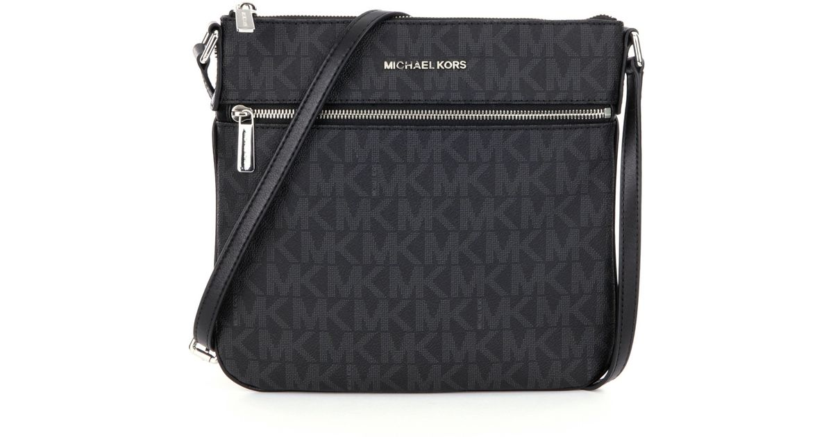 72658213af97 Lyst - MICHAEL Michael Kors Bedford Signature Flat Cross-body Bag in Black
