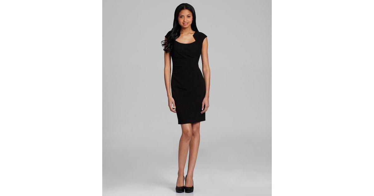 2ba14287c44 Lyst - Calvin Klein Petite Horseshoe-neck Sheath Dress in Black