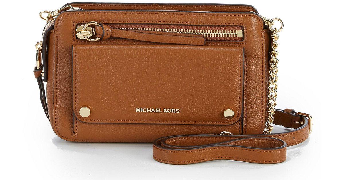e7392b1dc68a MICHAEL Michael Kors Mitchell Medium Cross-body Bag in Brown - Lyst
