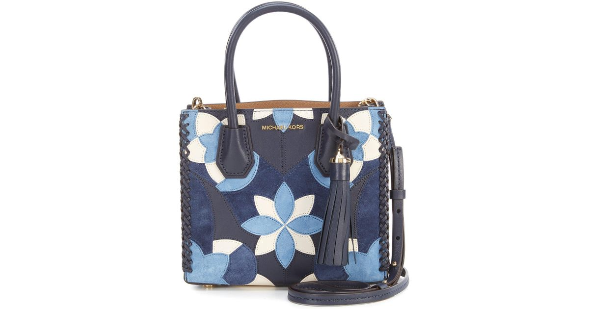 2a61e3f9bd86 ... official store lyst michael michael kors studio mercer tasseled  patchwork cross body bag in blue a971e