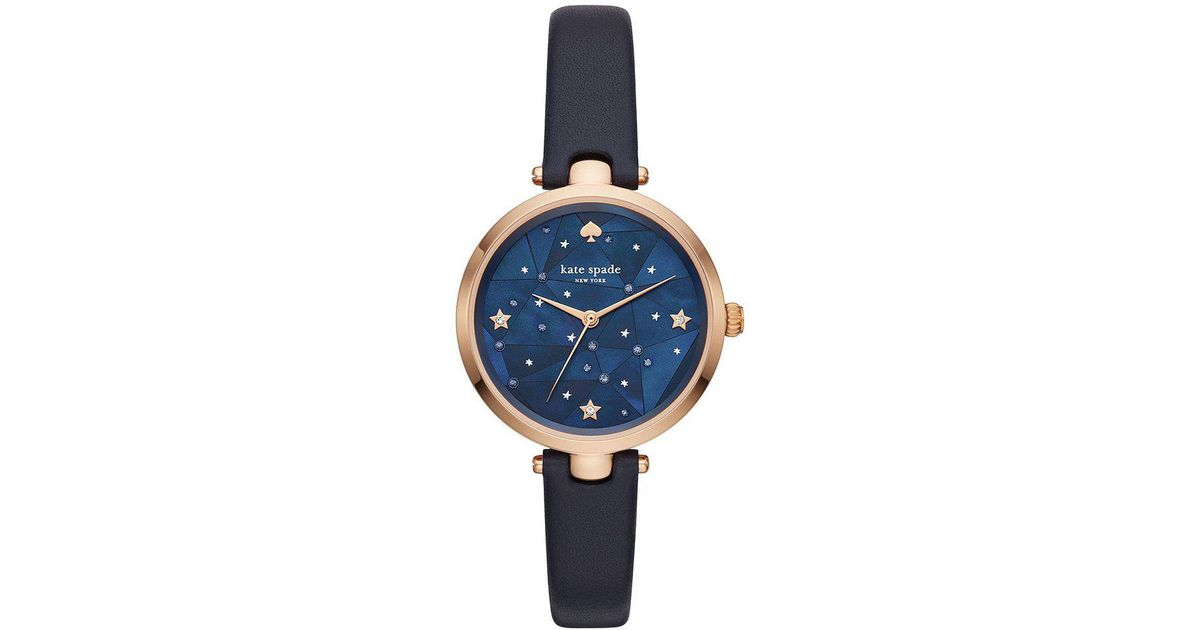 e53d9593870 Lyst - Kate Spade Holland Rose Gold-tone Stainless Steel Navy Leather Strap  Watch in Blue