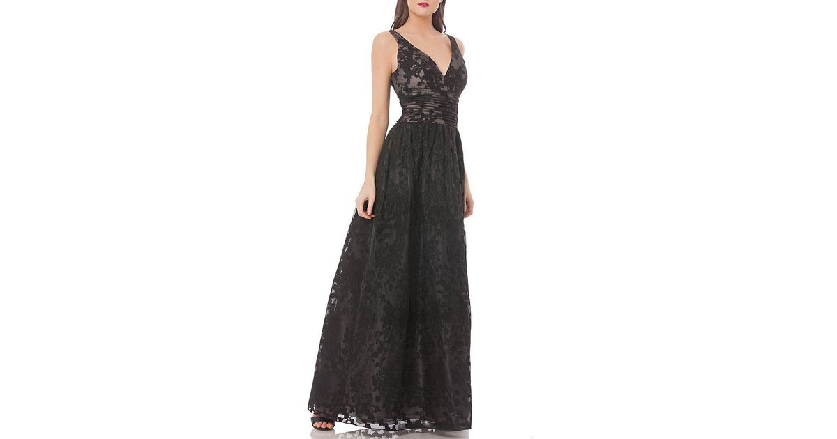 Lyst - Js Collections Deep V-neck Floral Embroidered Organza Gown in ...