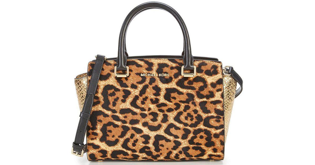 919b143fc7fb MICHAEL Michael Kors Selma Leopard-print Haircalf & Metallic Snake-print  Medium Satchel - Lyst