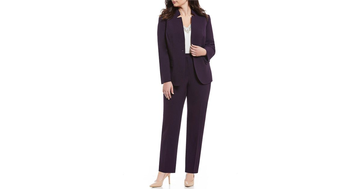15dda416fc8 Tahari Plus Size Star-neck One-button Front Jacket 2-piece Pant Suit - Lyst