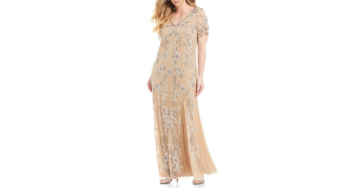 8a67691bb2c Lyst - Pisarro Nights Plus Size V-neck Beaded Gown in Natural
