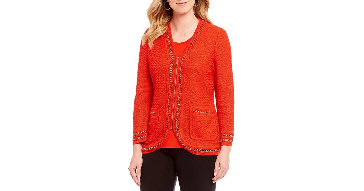Lyst - Misook V-neck Gold Chain Trim Zipper Front Cardigan in Red 06fab56fa
