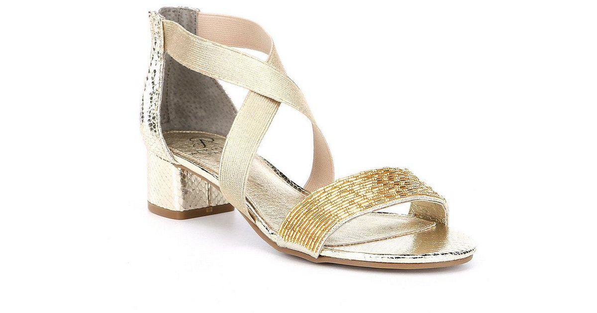 e84f335ff Adrianna Papell Teagan Beaded Block Heel Dress Sandals - Lyst