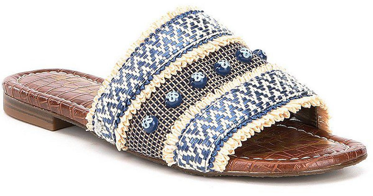 b9ac892dd1e5 Lyst - Sam Edelman Brandon Chevron Raffia Sandals in Blue