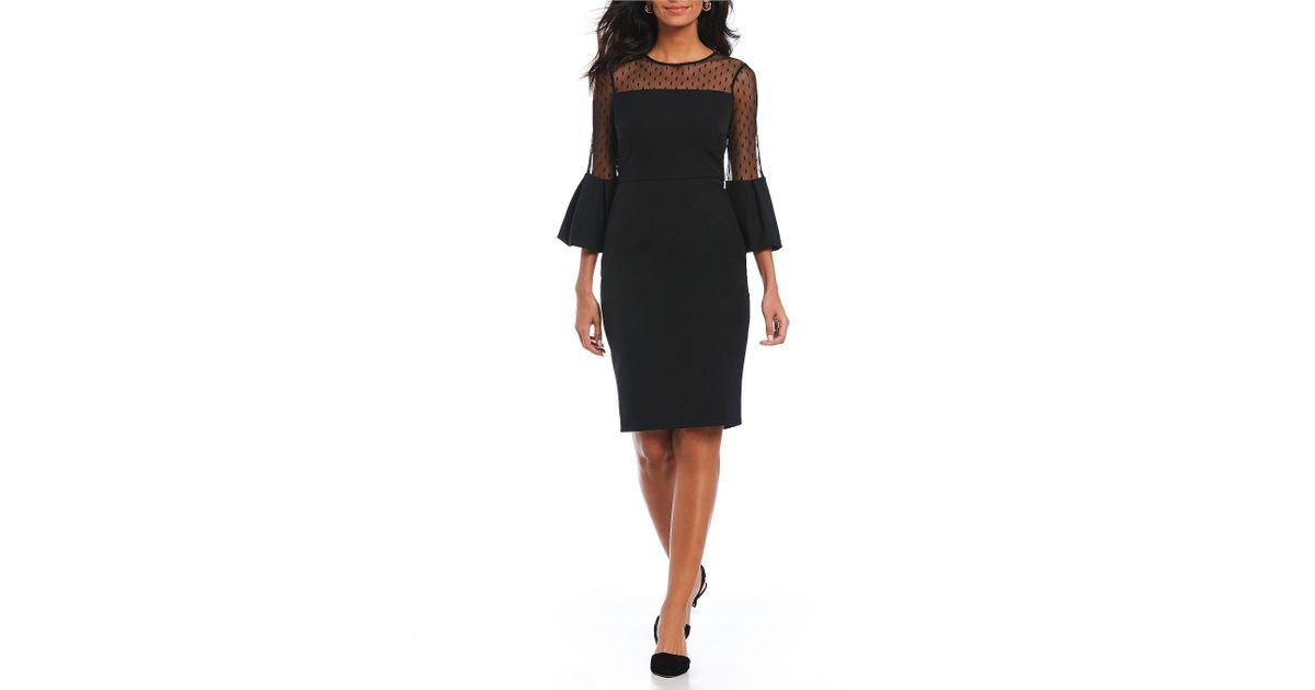 e2c551fa61b Eliza J Illusion Yoke Ruffle Sleeve Sheath Dress in Black - Lyst