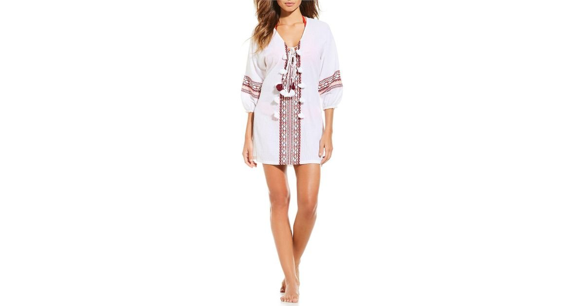 a0e010e2cd Gianni Bini Embroidery Tassel Tunic Swimsuit Coverup Dress in White - Lyst