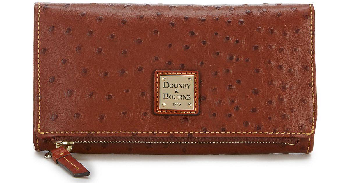 9e659edeee68 Lyst - Dooney & Bourke Ostrich Collection Foldover Wallet in Brown
