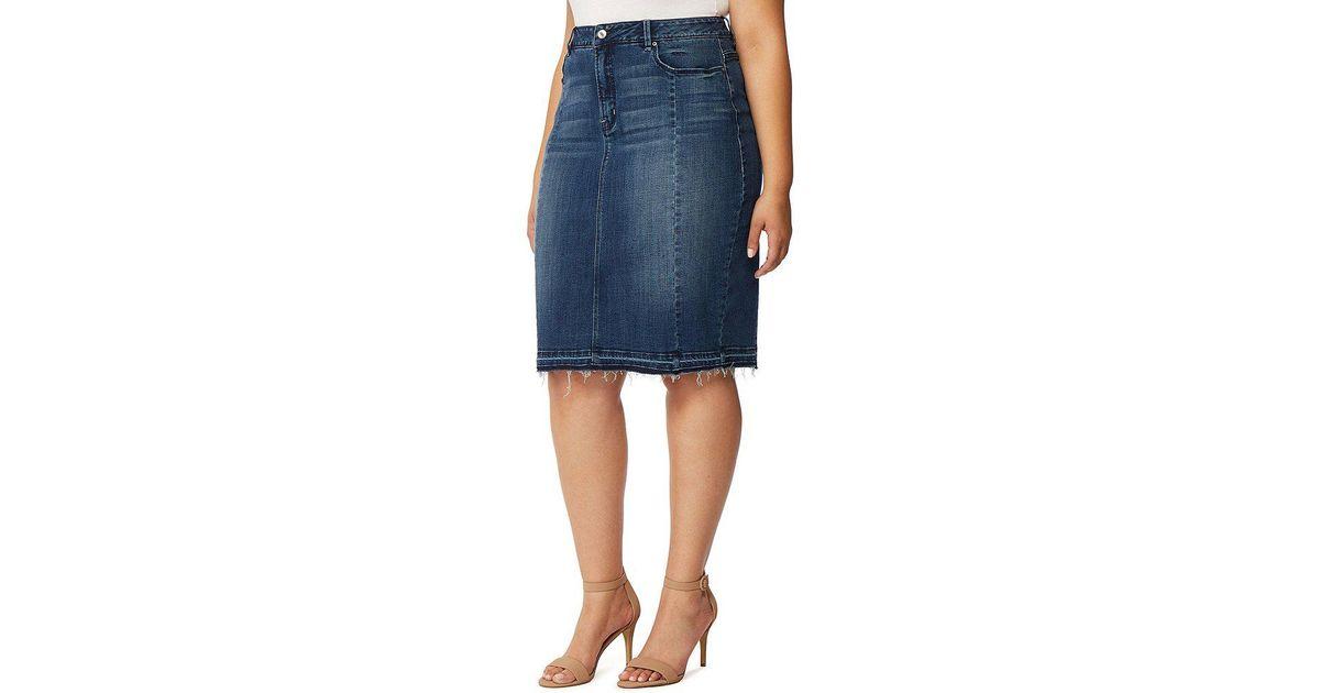 3290f046f3 Lyst - REBEL WILSON X ANGELS Plus The Divine Mid Rise Denim Pencil Skirt in  Blue