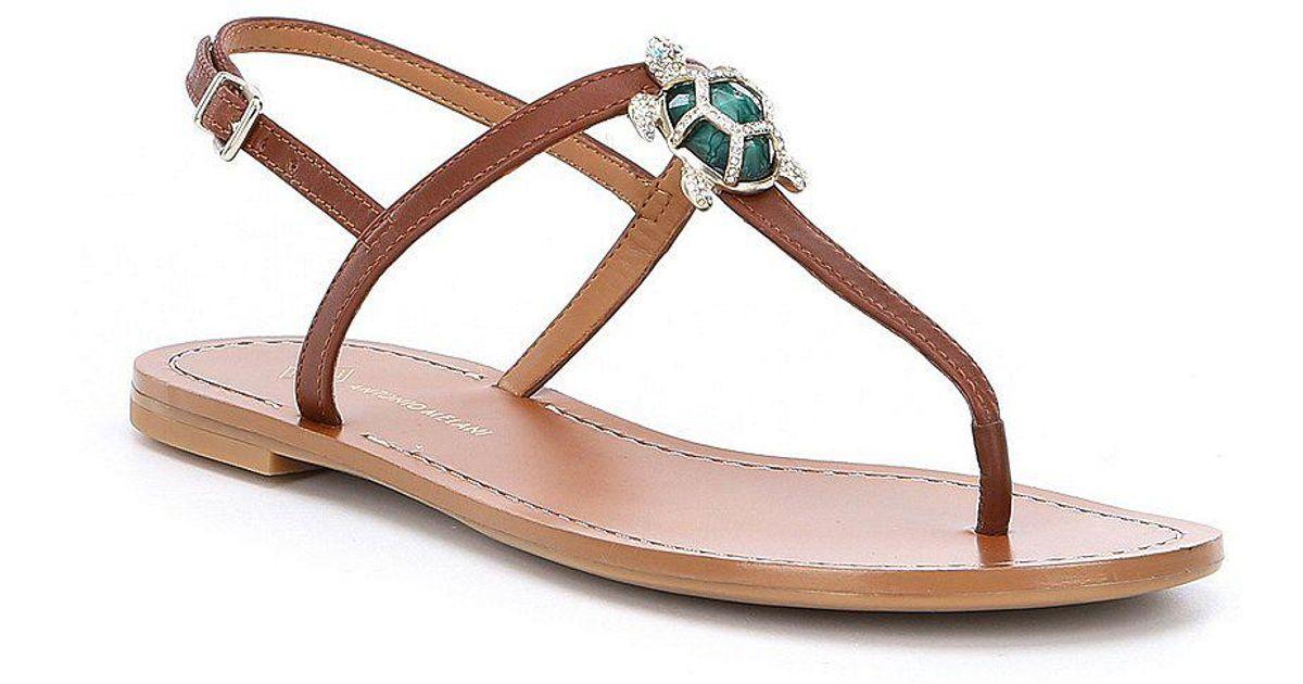 98c651224577 Lyst - Antonio Melani Tulias Jewel Turtle Ornament Thong Sandals in Brown
